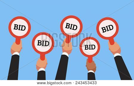 Businessman Buyers Hands Raising Auction Bid Paddles With Numbers Of Competitive Bidding Price. Auct