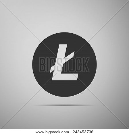Cryptocurrency Coin Litecoin Ltc Icon Isolated On Grey Background. Physical Bit Coin. Digital Curren
