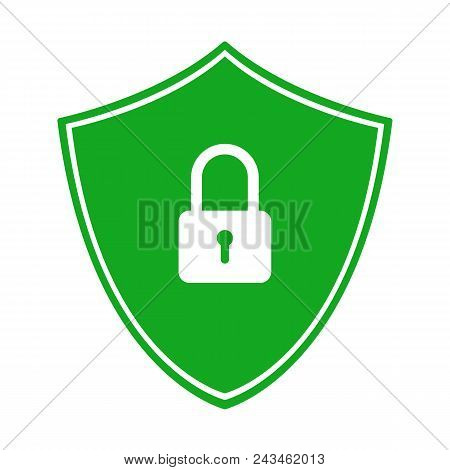 Green Shield With Closed Padlock. Secure Connection Symbol. Vector Icon.