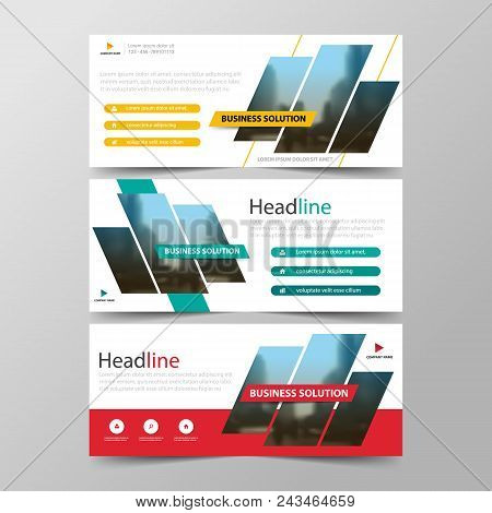 Yellow Blue Red Abstract Corporate Business Banner Template, Horizontal Advertising Business Banner