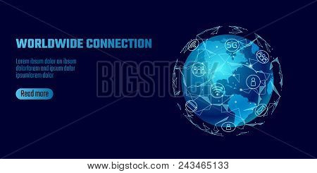 Global Network Connection. World Map America Continent Point Line Worldwide Information Technology D