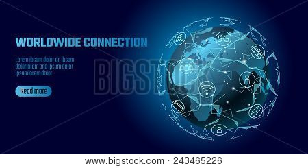 Global Network Connection. World Map Europe Africa Continent Point Line Worldwide Information Techno