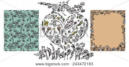 Set Of Vintage Doodle Floral Elements, Heart, Seamless Pattern And Frame Made Of These Elements. Pla