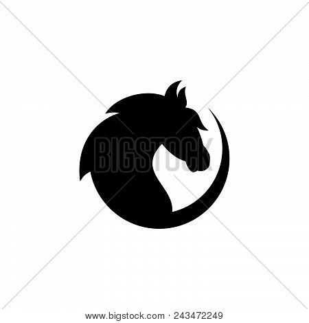 Silhouette Round Head Horse Vector Icon On The Modern Flat Style For Web, Graphic And Mobile Design.