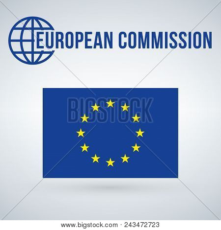European Union Comissions Flag Vector Illustration Isolated On Modern Background With Shadow