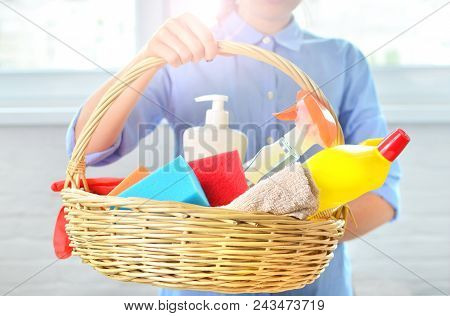 Professional cleaning chemicals for household. Background concept of cleanliness and order of the home. poster