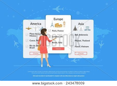 Choose Your Traveling Tour And Destination. Young Woman Standing Near Tour Panels And Choosing Trave
