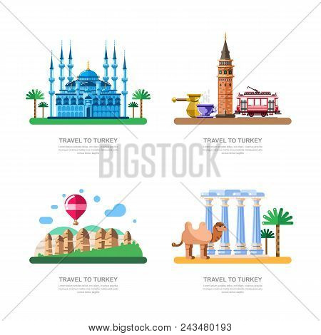 Travel To Turkey Design Elements. Istanbul Blue Mosque, Cappadocia, Galata Tower Vector Isolated Ill