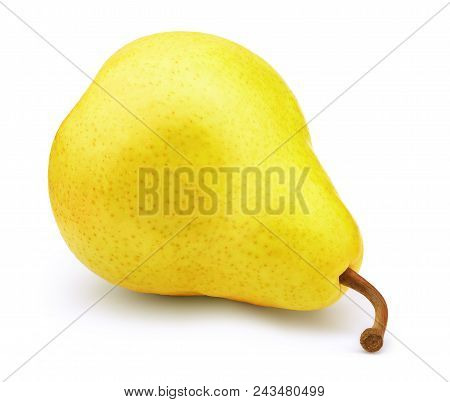 Fresh Yellow Pear Fruit Isolated On The White Background With Clipping Path. One Of The Best Isolate