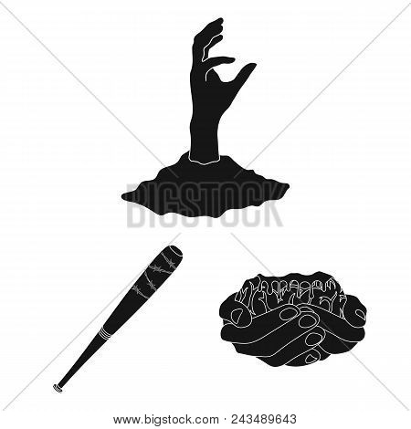 Zombies And Attributes Black Icons In Set Collection For Design. Dead Man Vector Symbol Stock  Illus