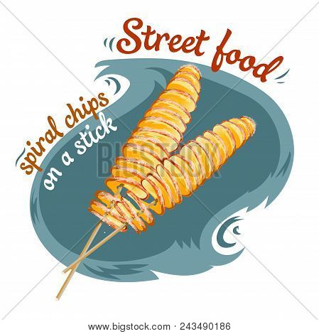 Spiral Chips - Street Food Vector Illustration Of Isolated Realistic. Design Template For Potato Chi