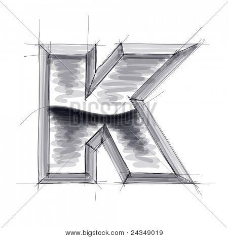 3D náčrtu kovových písmen - K. Bitmap kopírovat moje vektor