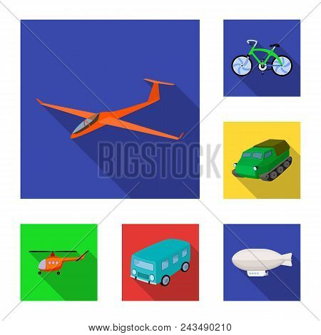 Different Types Of Transport Flat Icons In Set Collection For Design. Car And Ship Vector Symbol Sto