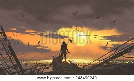 The Pirate With A Sword Standing On Ruins Of Boat And Looking At Golden Treasures At Sunset, Digital