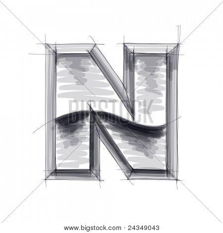 3d metal letters sketch - N. Bitmap copy my vector