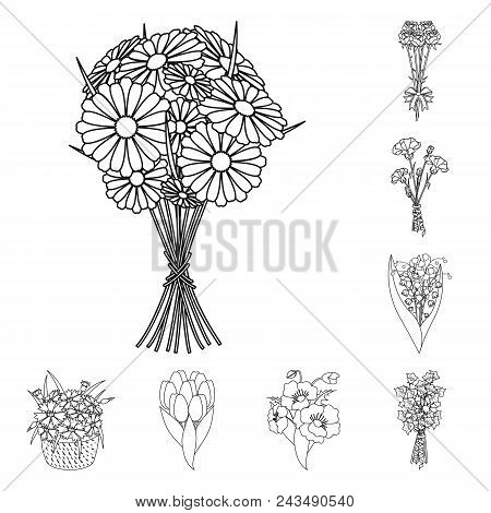 A Bouquet Of Fresh Flowers Outline Icons In Set Collection For Design. Various Bouquets Vector Symbo
