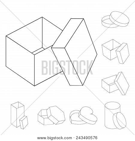 Different Boxes Outline Icons In Set Collection For Design.packing Box Vector Symbol Stock  Illustra