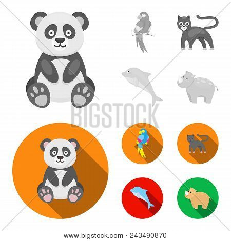 Panda.popugay, Panther, Dolphin.animal Set Collection Icons In Monochrome, Flat Style Vector Symbol