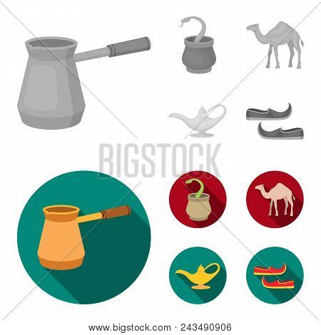 Cezve, Oil Lamp, Camel, Snake In The Basket.arab Emirates Set Collection Icons In Monochrome, Flat S