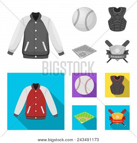 Playground, Jacket, Ball, Protective Vest. Baseball Set Collection Icons In Monochrome, Flat Style V