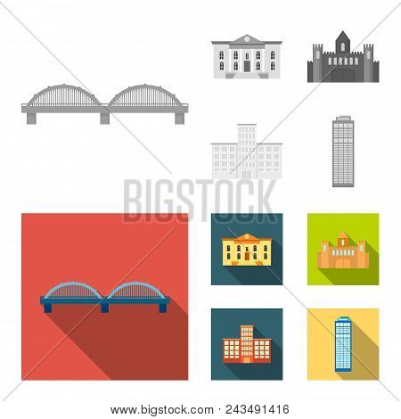 Museum, Bridge, Castle, Hospital.building Set Collection Icons In Monochrome, Flat Style Vector Symb