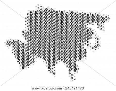 Football Ball Asia Map. Vector Territorial Plan In Gray Color. Abstract Asia Map Concept Is Done Of