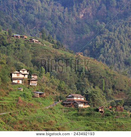 Traditional Gurung House With Stone Roof. Typical Architecture Around Landruk, Nepal.