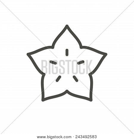 Starfruit Icon Vector. Outline Tropical Fruit, Line Carambola Symbol Abstract Illustration Eps10. Gr