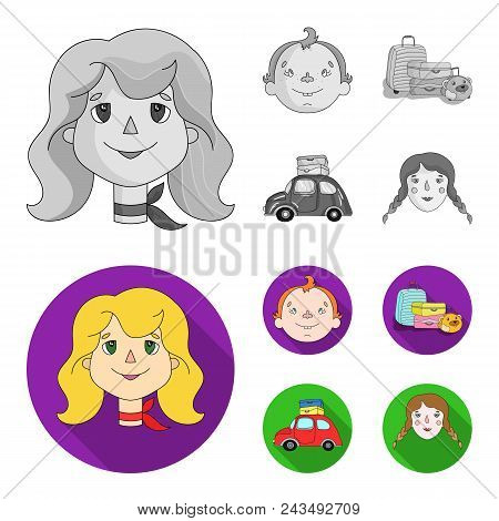 Camping, Woman, Boy, Bag .family Holiday Set Collection Icons In Monochrome, Flat Style Vector Symbo