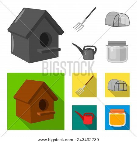 Poultry House, Pitchfork, Greenhouse, Watering Can.farm Set Collection Icons In Monochrome, Flat Sty