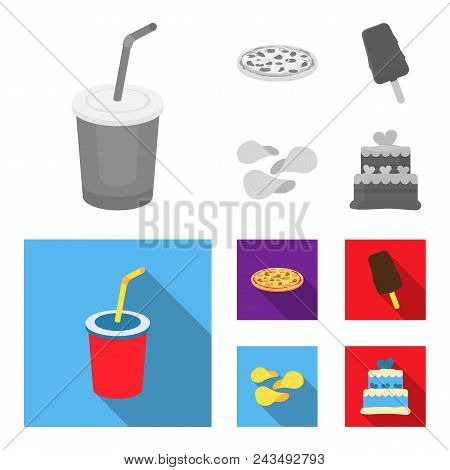 Cola, Pizza, Ice Cream, Chips.fast Food Set Collection Icons In Monochrome, Flat Style Vector Symbol