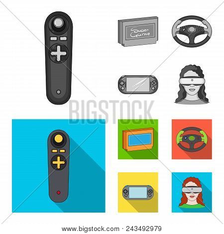 Game Console And Joystick Monochrome, Flat Icons In Set Collection For Design.game Gadgets Vector Sy