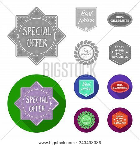 Special Offer, Best Prise, Guarantee, Bio Product.label, Set Collection Icons In Monochrome, Flat St