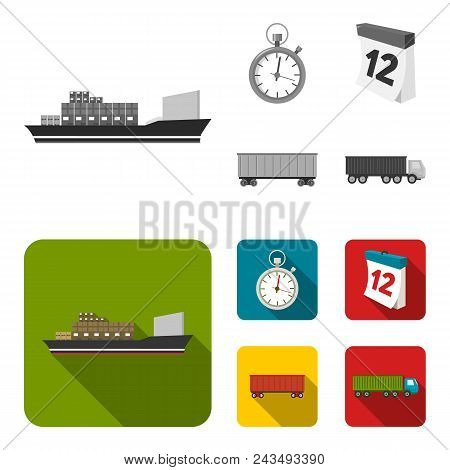 Cargo Ship, Stop Watch, Calendar, Railway Car.logistic, Set Collection Icons In Monochrome, Flat Sty