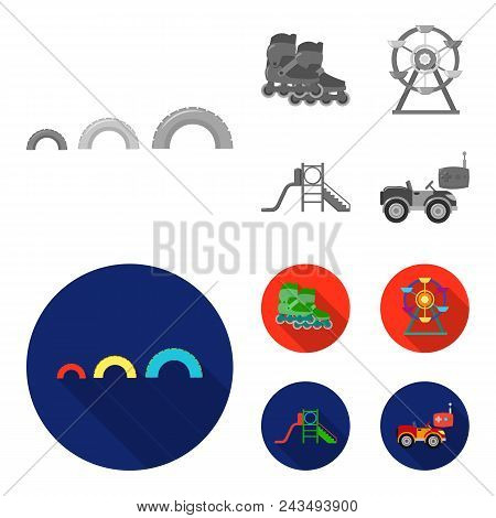 Ferris Wheel With Ladder, Scooter. Playground Set Collection Icons In Monochrome, Flat Style Vector