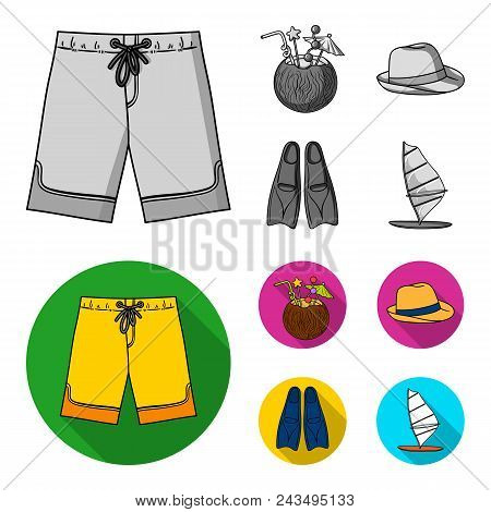 Swimming Trunks, Cocktail With Coconut, Panama And Flippers. Surfing Set Collection Icons In Monochr