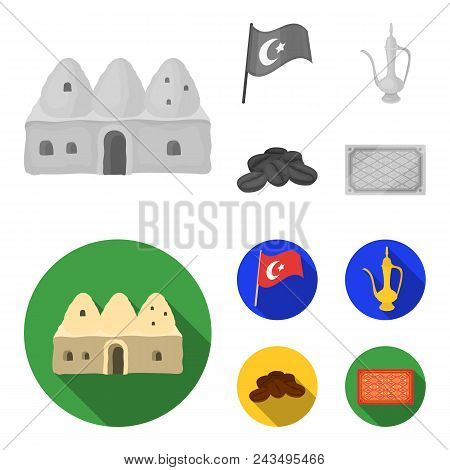 House Hive, National Flag, Coffee Pot Copper, Grains Coffee.turkey Set Collection Icons In Monochrom