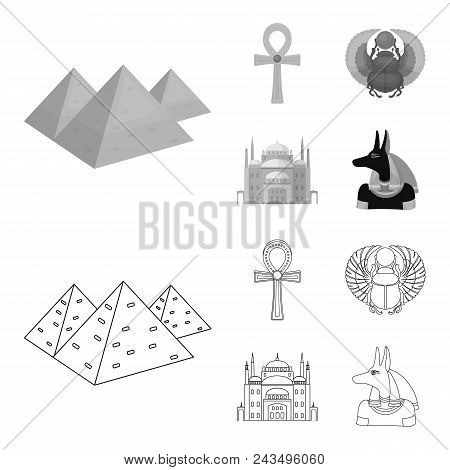 Anubis, Ankh, Cairo Citadel, Egyptian Beetle.ancient Egypt Set Collection Icons In Outline, Monochro