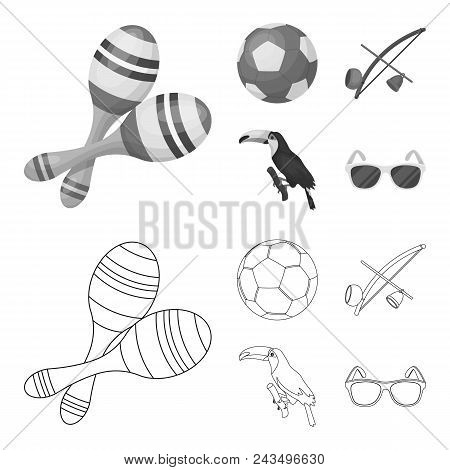 Brazil, Country, Ball, Football . Brazil Country Set Collection Icons In Outline, Monochrome Style V