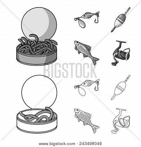 Fishing, Fish, Catch, Hook .fishing Set Collection Icons In Outline, Monochrome Style Vector Symbol