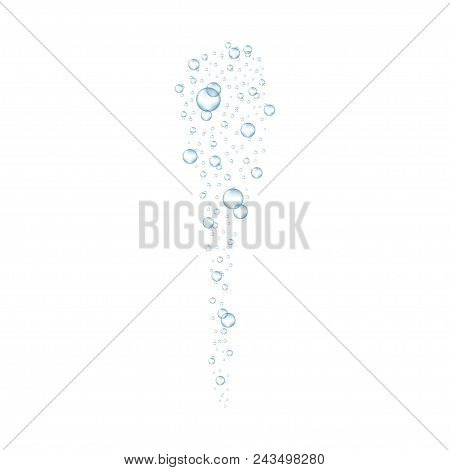 Underwater air bubbles flow. Realistic fizzing oxygen bubbles under water. Fizzy drink or champagne gas isolated on white background. Vector. poster