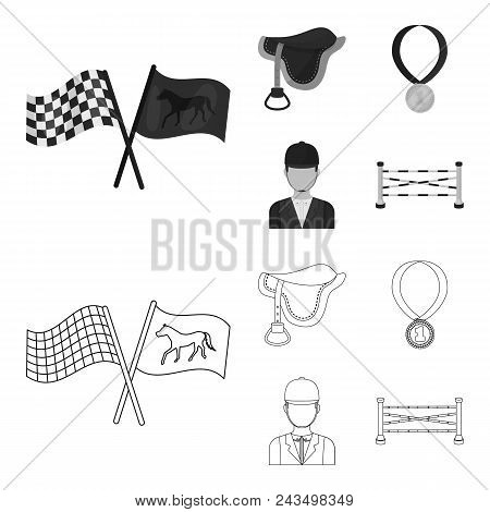 Saddle, Medal, Champion, Winner .hippodrome And Horse Set Collection Icons In Outline, Monochrome St
