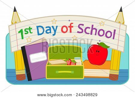 Back To School Clip-art With Lunchbox, Notebook, Apple And Banner That Says