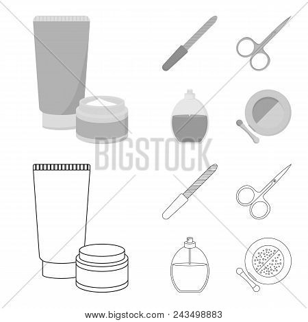 Nail File, Scissors For Nails, Perfume, Powder With A Brush.makeup Set Collection Icons In Outline,