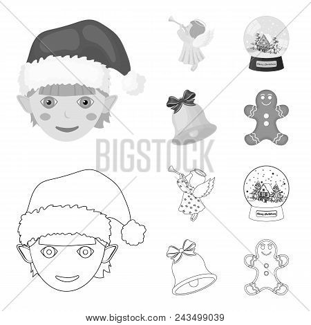 Angel, Glass Bowl, Gingerbread And Bell Outline, Monochrome Icons In Set Collection For Design. Chri