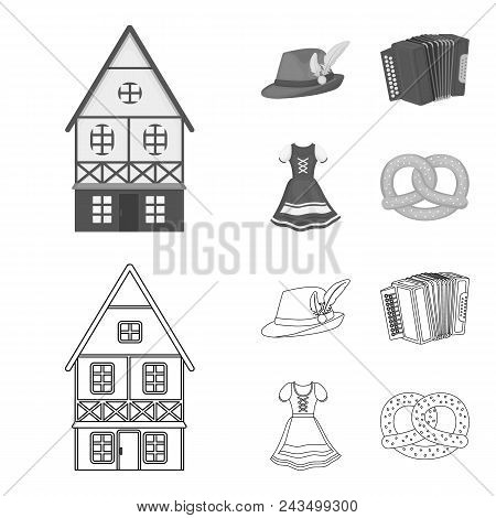 Tyrolean Hat, Accordion, Dress, Pretzel. Oktoberfestset Collection Icons In Outline, Monochrome Styl