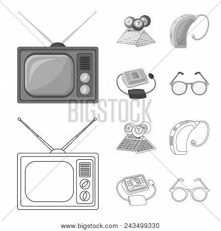Lottery, Hearing Aid, Tonometer, Glasses.old Age Set Collection Icons In Outline, Monochrome Style V