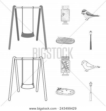 Territory Plan, Bird, Lake, Lighting Pole. Park Set Collection Icons In Outline, Monochrome Style Ve