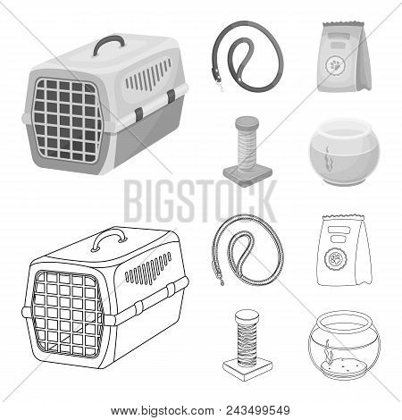Leash, Feed And Other Zoo Store Products.pet Shop Set Collection Icons In Outline, Monochrome Style