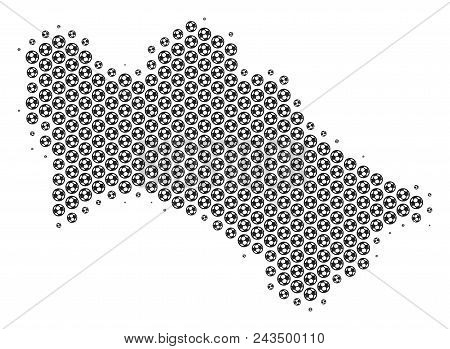 Football Ball Turkmenistan Map. Vector Territory Plan In Grey Color. Abstract Turkmenistan Map Compo